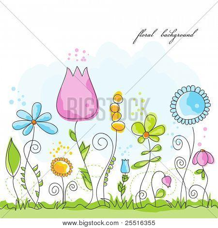 Vector summer floral background