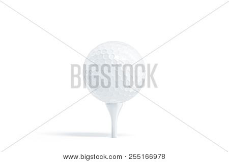Blank White Golf Ball On Tee Mockup, Stand Isolated, 3d Rendering. Empty Golfing Sphere Mock Up, Fro