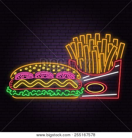 Retro Neon Hot Dog And French Fries Sign On Brick Wall Background. Design For Cafe, Restaurant. Vect