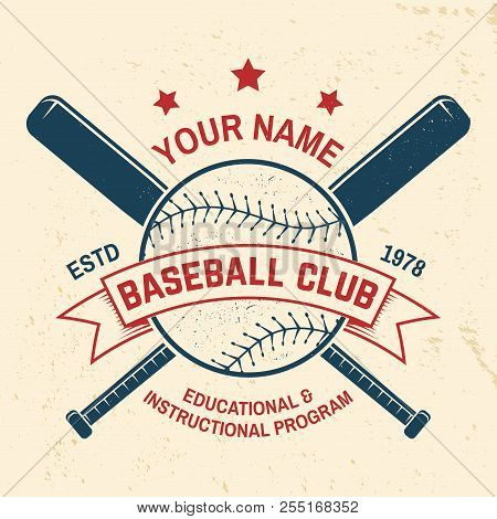 Baseball Club Badge. Vector Illustration. Concept For Shirt Or Logo, Print, Stamp Or Tee. Vintage Ty