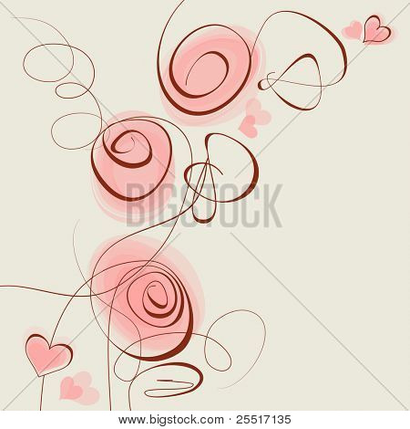 Pink flowers and hearts vector background