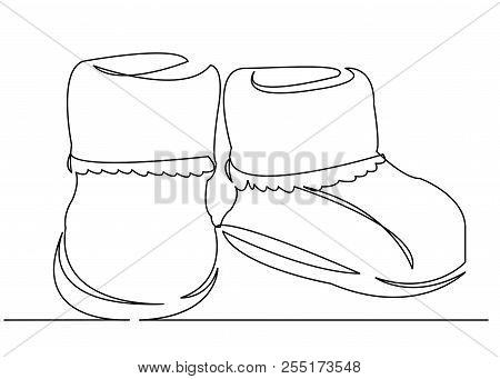 Continuous Single Drawn One Line Booties For Newborn Booties Hand-drawn Picture Silhouette. Line Art