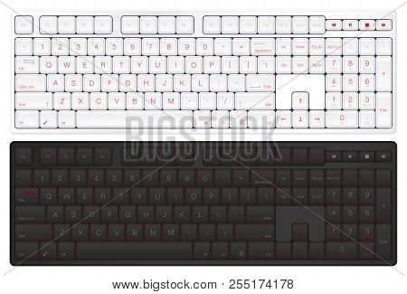 Realistic Vector Keyboard. Top View Computer Keyboard. Black And White With Red Version