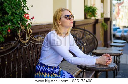 Still Waiting Him. How Enjoy Being Single Tips. Woman Sits Alone Cafe Terrace Urban Background Defoc