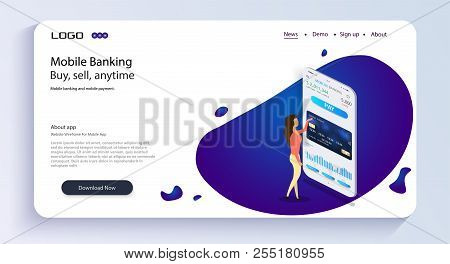 The Girl Operates Mobile Banking.mobile Banking. Mobile Bank App Isometric Concept. Online Banking D