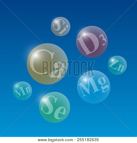 Glowing Translucent Spheres With Names Of Useful Microelements On A Blue Background. Medical Vector