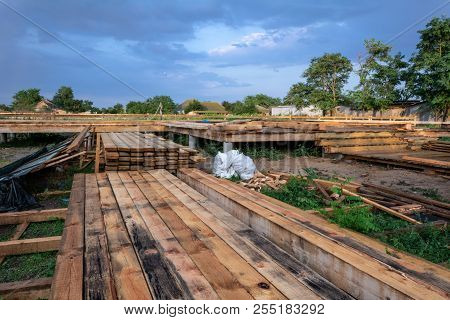 Building Timber For The Construction Of A Wooden Frame House With A Triangular Type A