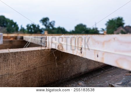 Details Of The Frame House Construction. Alignment Of Beams, Selective Focus, Shallow Depth Of Field