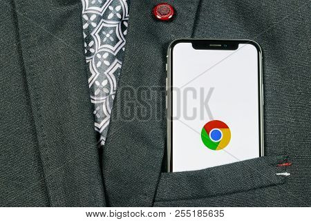 Sankt-petersburg, Russia, August 24, 2018: Google Chrome Application Icon On Apple Iphone X Screen C