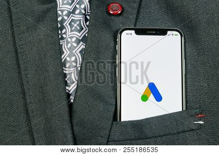 Sankt-petersburg, Russia, August 24, 2018: Google Ads Adwords Application Icon On Apple Iphone X Scr