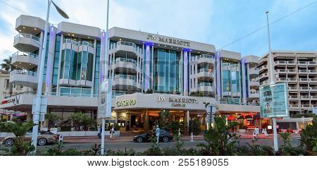 Cannes, France - June 27, 2018: Night View Of Luxury Hotel Jw Marriott, Located On The Famous La Cro