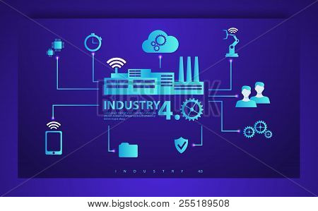 Smart Industry 4.0 Infographic. Physical Systems, Cloud Computing, Cognitive Computing Industry 4.0
