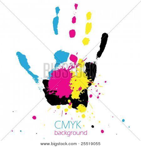 Hand with CMYK ink splashes
