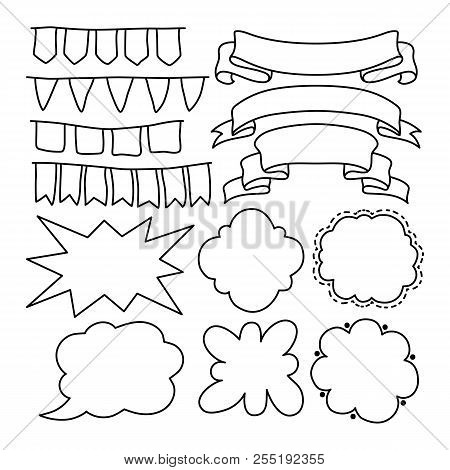 Black Line Vector Banners, Ribbons And Text Bubble On White Background. Outlined Ribbon Banner Isola