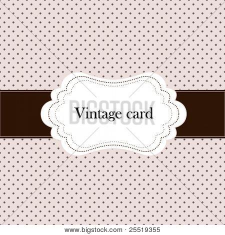 Vintage pink card, polka dot design