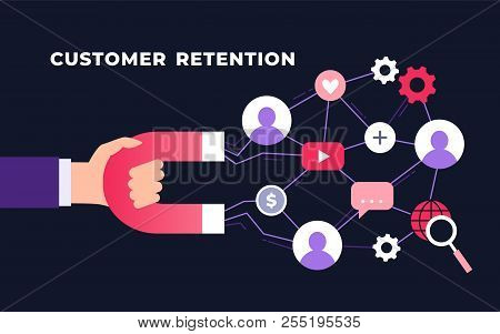 Customer Retention Strategy, Digital Inbound Marketing, Customer Attraction Flat Ultraviolet Vector