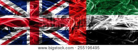 United Kingdom Vs United Arab Emirates Smoke Flags Placed Side By Side. Thick Colored Silky Smoke Fl