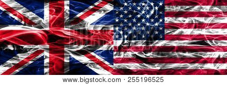 United Kingdom Vs United States Of America Smoke Flags Placed Side By Side. Thick Colored Silky Smok