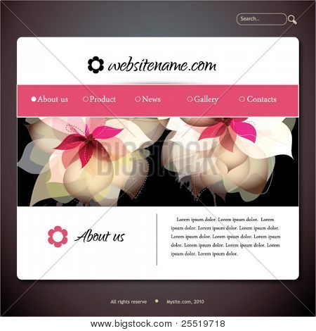 Vector web site design template with flowers