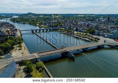 Droneshot Of The Beautiful City Maastricht, Netherlands