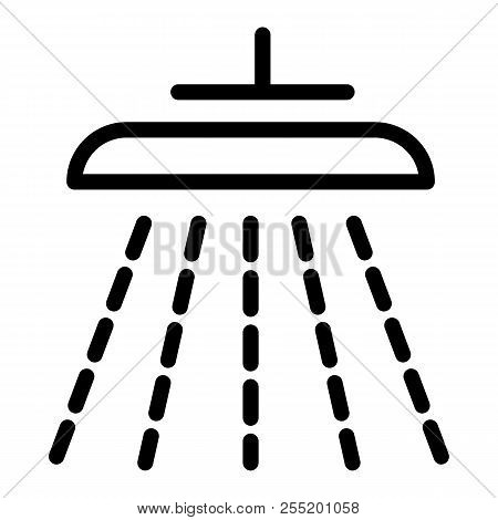 Shower Line Icon. Douche Vector Illustration Isolated On White. Shower Head Outline Style Design, De