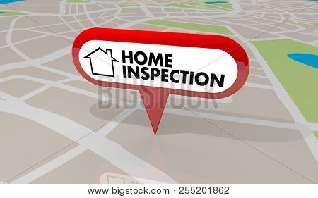 Home Inspection House Inspector Check Map Pin 3d Illustration poster