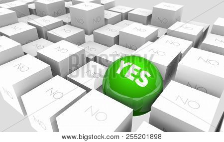 Yes or No Positive Vs Negative Answer Response Sphere in Cubes 3d Illustration