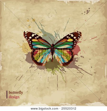 Retro butterfly design on old paper