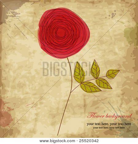 Vintage rose, doodle flower