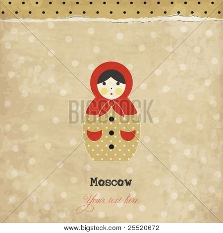 Vintage matrioshka card with polka dots background