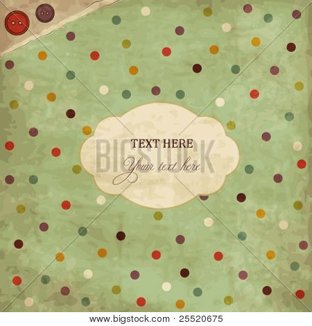 Scrap template of vintage worn distressed design with buttons