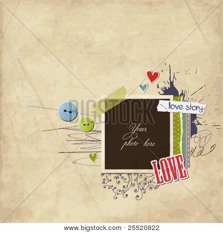 Romantic scrap template, love card