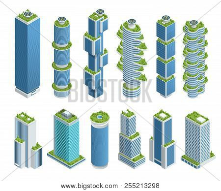 Isometric Set Of Modern Ecologic Skyscraper With Many Trees On Every Balcony. Ecology And Green Livi