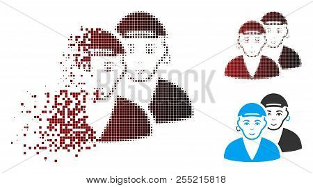 Gay Dudes Icon With Face In Dissolved, Pixelated Halftone And Undamaged Whole Variants. Points Are A