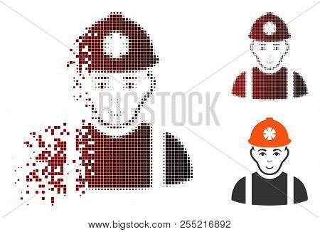 Miner Icon With Face In Dissolved, Dotted Halftone And Undamaged Whole Versions. Elements Are Combin