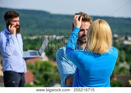 Couple Having Fun While Busy Businessman Speak On Phone. Face To Face Conversation Advantages Concep