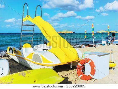 Yellow Paddleboat At The Beach In San Vito Lo Capo, Sicily, Italy
