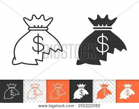 Money Lost Black Linear And Silhouette Icons. Thin Line Sign Of Financial Loss. Hole In Moneybag Out