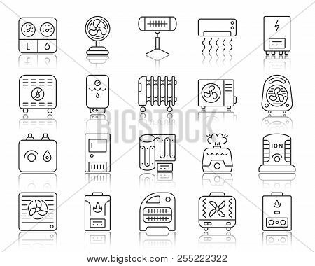 Hvac Thin Line Icons Set. Outline Sign Kit Of Climatic Equipment. Fan Linear Icon Collection Include