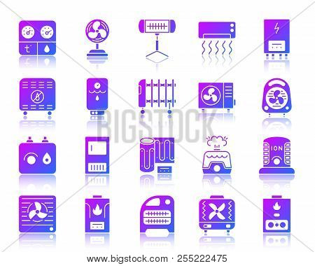 Hvac Glyph Icons Set With Reflection. Violet Sign Kit Of Climatic Equipment. Fan Vector Pictogram Co