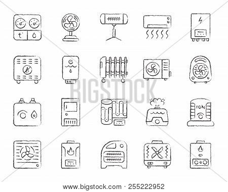Hvac Charcoal Icons Set. Grunge Outline Sign Kit Of Climatic Equipment. Fan Linear Icon Pack Include