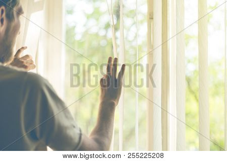 Back View Of Man Looking Through Jalousie Blinds On Widnow At The Sun