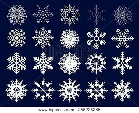 Winter Set Of White Snowflakes Isolated On Dark Background. Snowflake Icons. Snowflakes Collection F