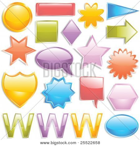 Glossy colorful web elements