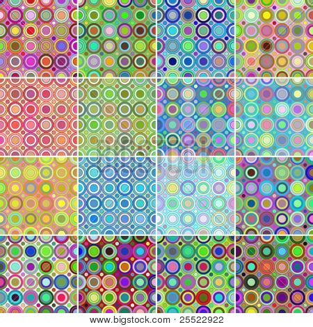 Collection of 16 seamless circular patterns