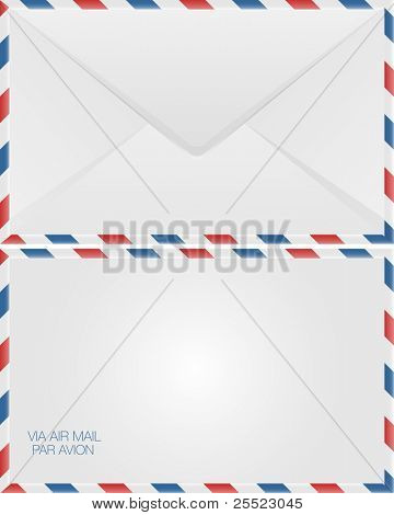 Air mail envelope design, back and front view