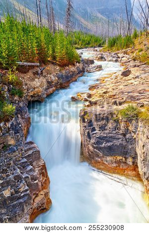 Marble Canyon Waterfall Atop A Narrow And Dramatic Limestone Gorge Eroded By The Pounding Waters Of