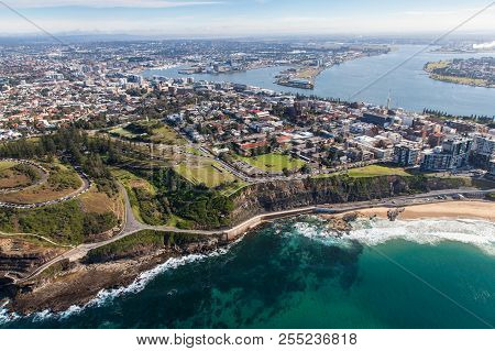 An Aerial View Of The South End Of Newcastle Beach And King Edward Park. Newcastle Nsw Is One Of The