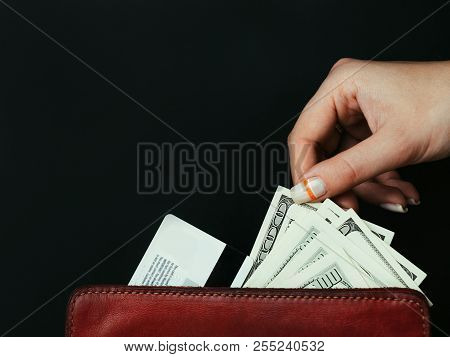Money Loan. Borrowing From Bank Or Creditors. Quick Financial Transfers On Credit Card. Woman Taking