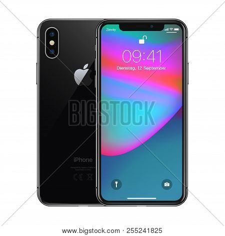 New York, Usa - August 22, 2018: Stock Vector Illustration Realistic New Apple Iphone X 10. Frameles